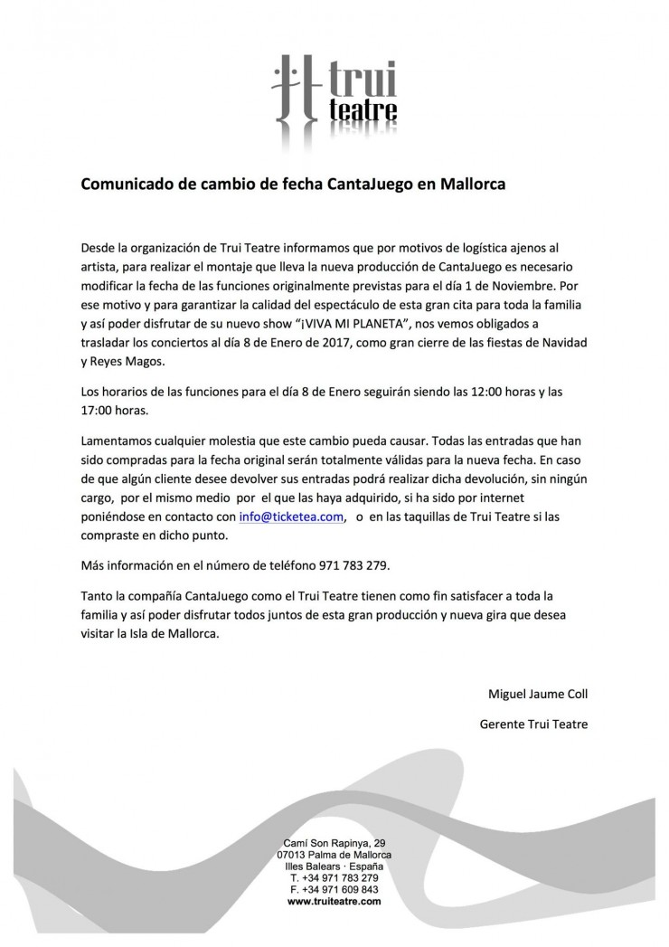 CantaJuego - APLAZAMIENTO Mallorca 1 de Noviembre al 8 de Enero