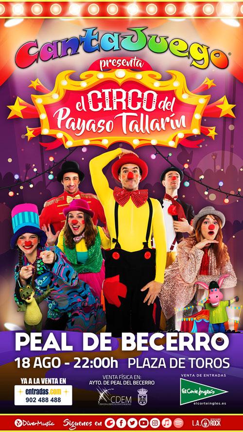El Circo del Payaso Tallarín en Peal del Becerro el 18 de Agosto