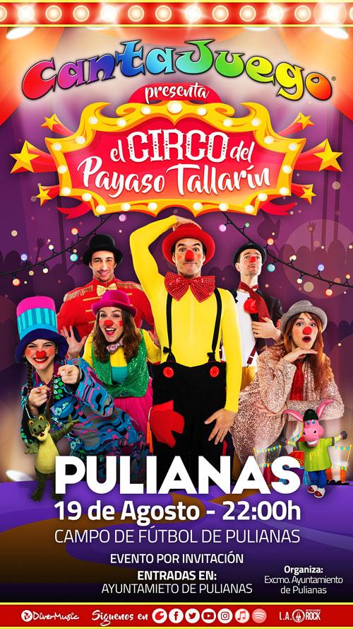 El Circo del Payaso Tallarín en Pulianas el 19 de Agosto